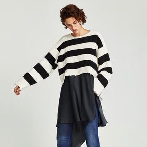 Zara Striped Ribbed Distressed Oversized Sweater